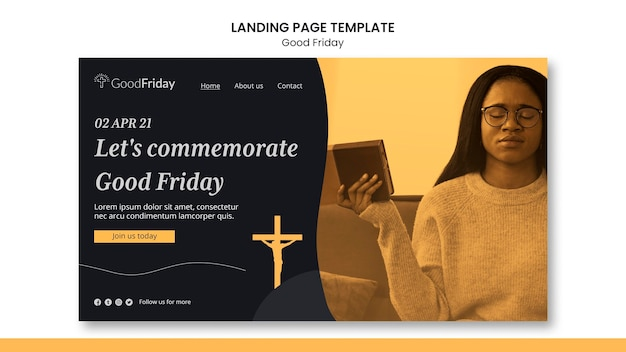 Good friday landing page template with photo