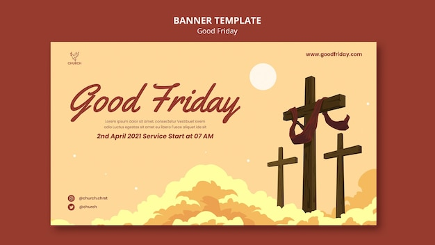 Good friday social banner template Free Psd