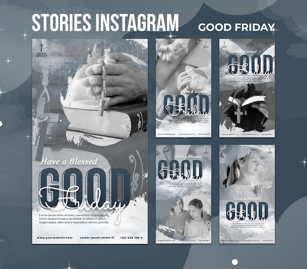 Набор историй страстной пятницы в социальных сетях