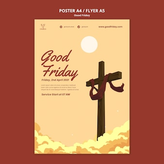 Good friday social poster template
