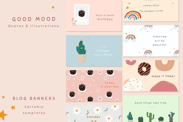 Good mood quote template psd set for blog banner cute hand drawn