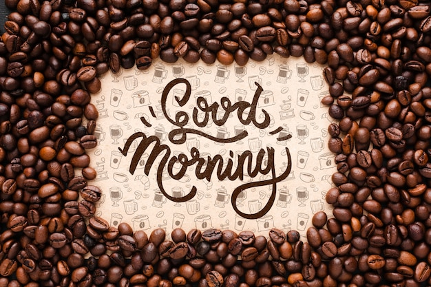 Good morning background with coffee beans frame Free Psd