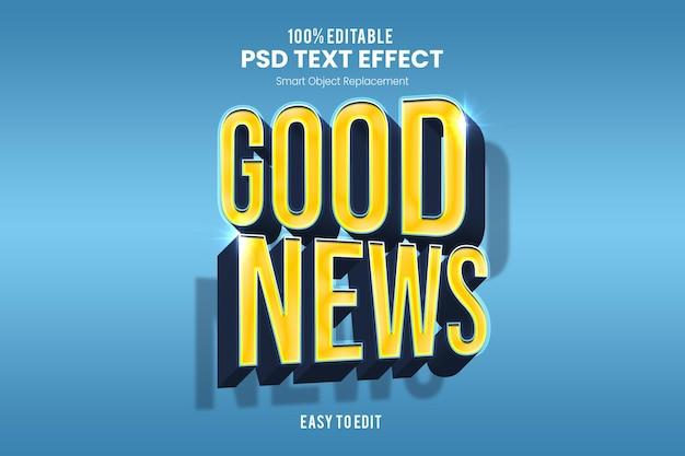 Хорошие новостиtext effect Premium Psd