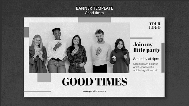 Good times banner template with photo