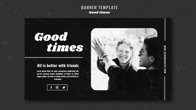 Good times happy friends laughing banner