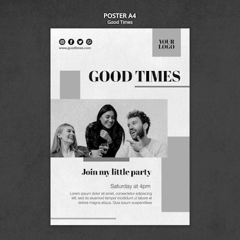Good times poster template with photo