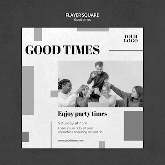 Good times squared flyer template with photo