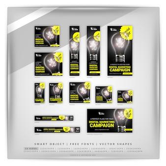 Лампочка для цифрового маркетинга google banner set