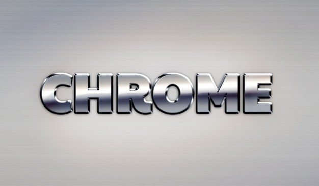 Google chrome metal text effect