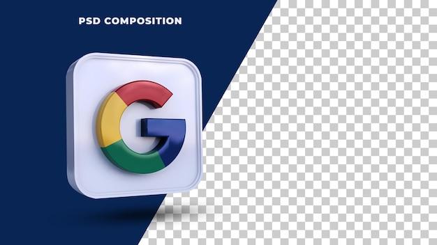 Значок кнопки google логотип 3d-рендеринга изолированные
