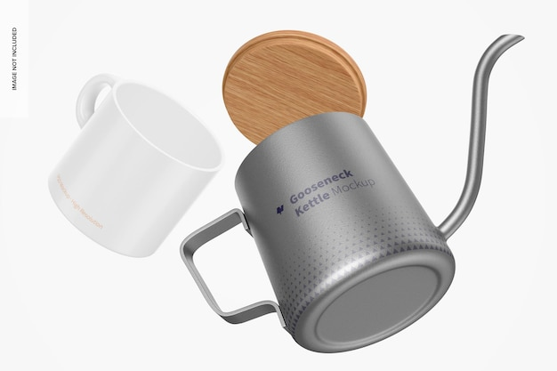 Gooseneck kettle with mug mockup, falling