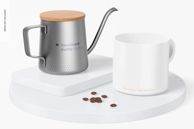 Gooseneck kettle with mug mockup