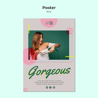 Gorgeous and beauty concept poster template