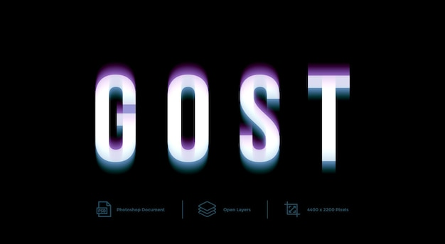 Gost text effect design template style effect
