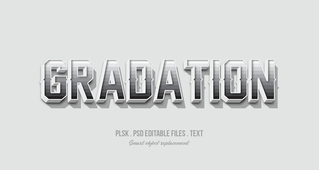 Gradation 3d text style effect mockup