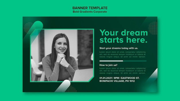 Gradient banner template for corporate career