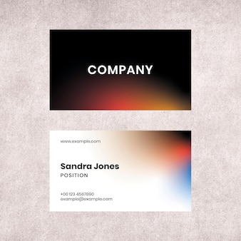 Gradient business card template psd for tech company in modern style