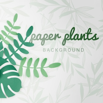 Gradient green tones paper plants background with shadows