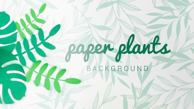 Gradient green tones paper plants background