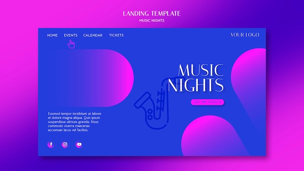 Gradient landing page for music nights festival