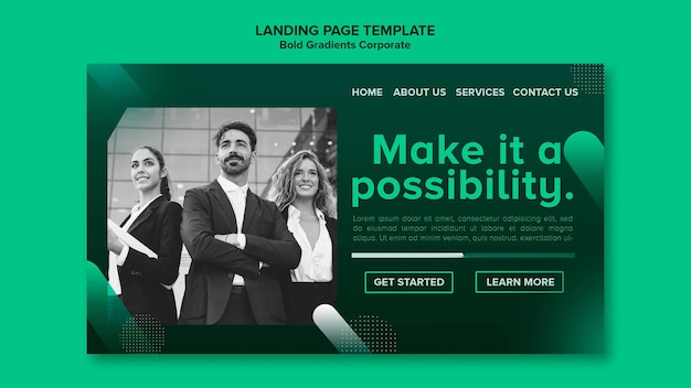 Gradient landing page template for corporate career