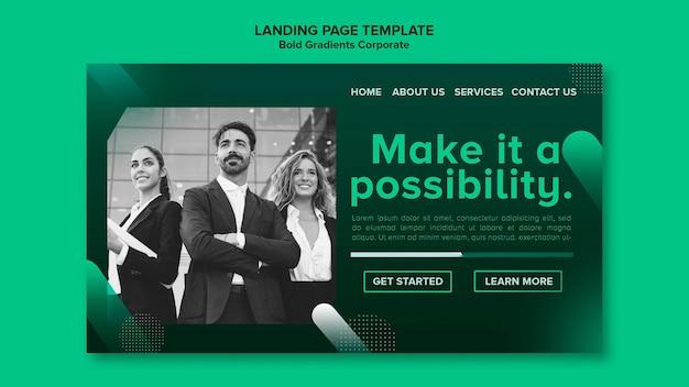 企業でのキャリアのためのグラデーションランディングページテンプレート