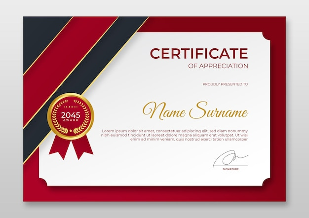 Градиент современный шаблон сертификата роскошный красный золотой значок шаблон сертификата достижения