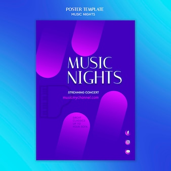 음악의 밤 축제를위한 그라디언트 포스터 템플릿