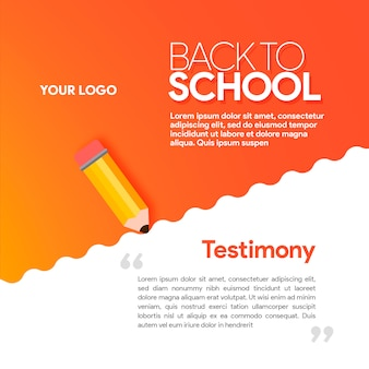 Gradient red social media banner back to scholl with pencil