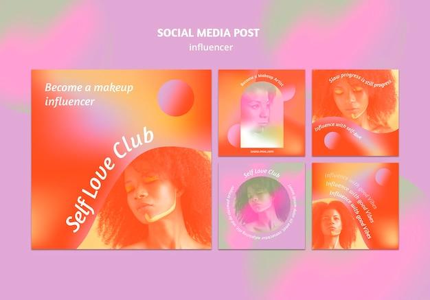 Gradient self love club social media posts
