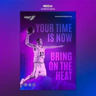 Gradient sport poster template concept