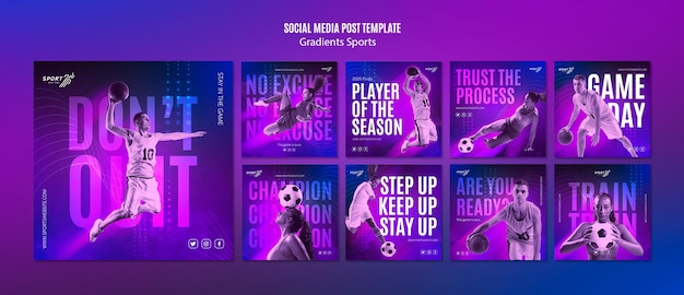 Gradient sport social media post template