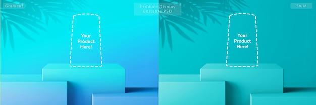 그라디언트 여름 바다 파란색 사각형 상자 수준 받침대 구성 제품 디스플레이