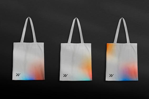 Градиентный макет сумки-тоут psd с логотипом в минималистском стиле