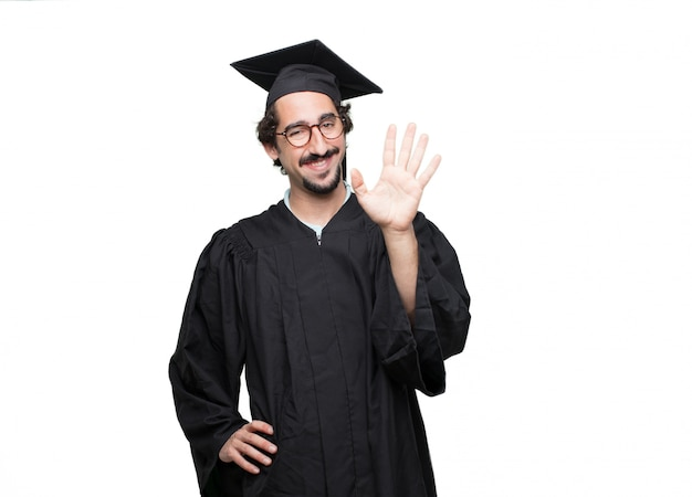 Graduate bearded man looking scared, frightened and horrified
