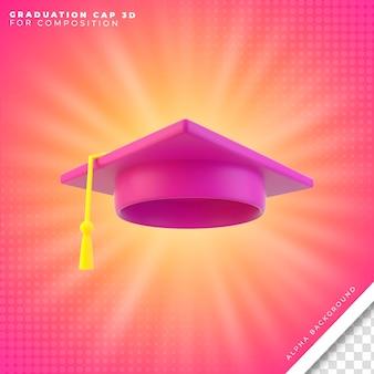 卒業帽の3dアイコン