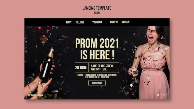 Graduation prom landing page template
