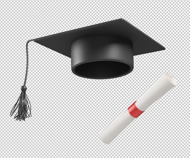 Выпускной тога шляпа 3d иллюстрация