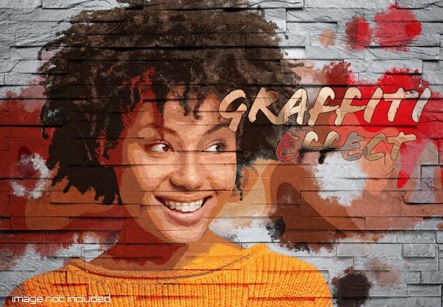 Graffiti effect on brick wall mockup