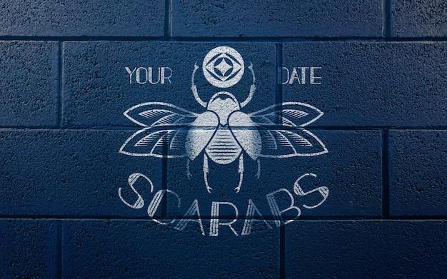 파란 벽돌 벽 로고 이랑에 낙서