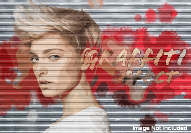 Graffiti photo effect on garage door texture mockup