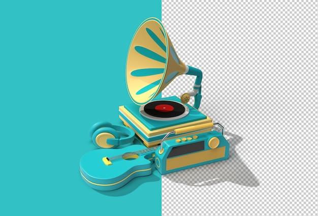 Граммофон с музыкальным оборудованием. прозрачный файл в формате psd.