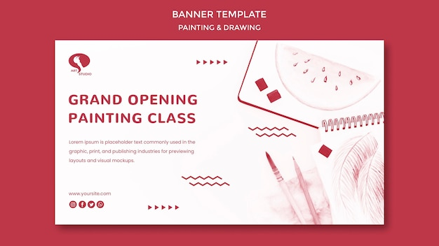 Grand opening drawing and painting banner template
