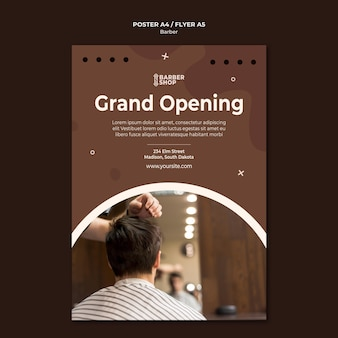 Grand opening man at barber shop poster template