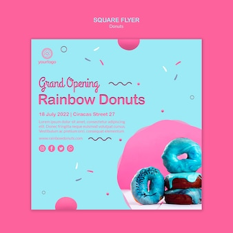 Grand opening rainbow doughnuts square flyer