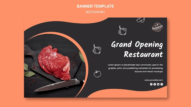 グランドオープンのレストランバナーテンプレート