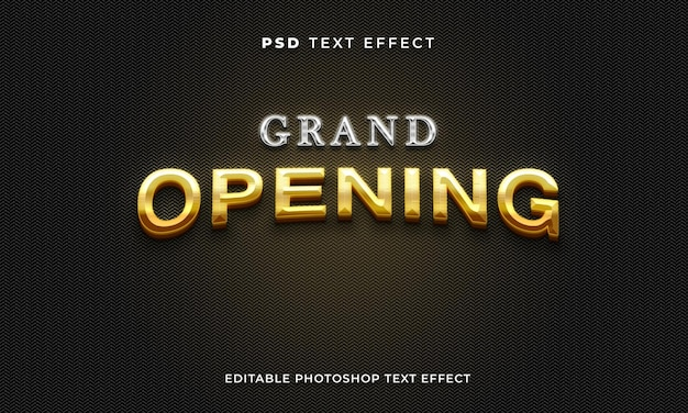 Grand opening text effect template with gold and silver effect