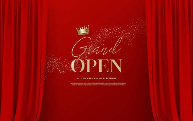 Grand opening text template with illustration of luxury red silk velvet curtains