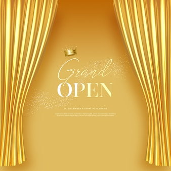 Grand opening text template with luxury golden silk velvet curtains.