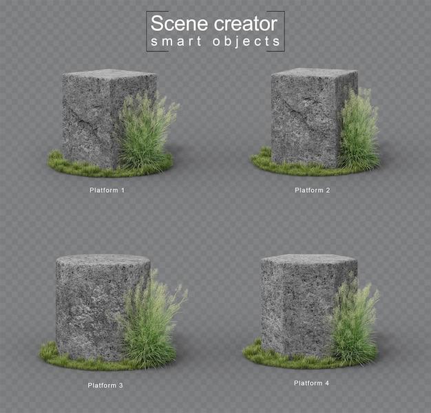 Granite stone platform on grass set
